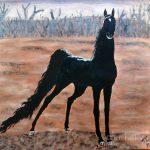 Black Horse, acrylic on paper