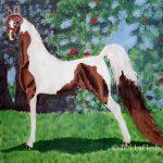 Pinto saddlebred, acrylic on paper